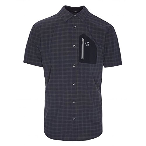 Ternua ® Camisa MC ATHY Shirt Hombre - Color Negro/Cuadros Negros