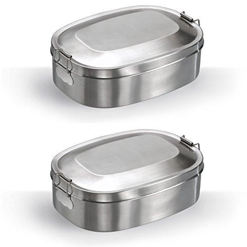 2x Mato Vesperbox 16,5x12,5cm Edelstahl Proviantdose Lunchbox Brotzeitdose Vesperdose Frühstücksbox Brotdose