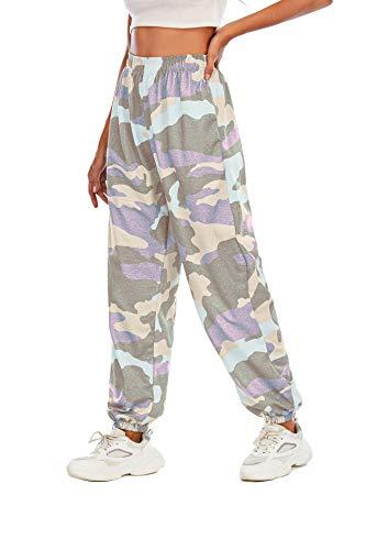 Pantalones deportivos de camuflaje multicolor para mujer, pantalones largos, elásticos, casuales, pantalones de entrenamiento, pantalones de leopardo, para mujer