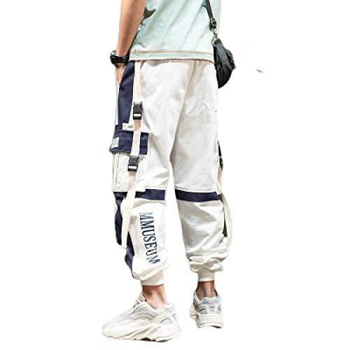 Pantalones Cargo Pantalones de Combate Multi Bolsillos Costura Color Baggy Casual Moda Streetwear Pantalones para Hombres Mujeres Jóvenes Otoño Invierno M