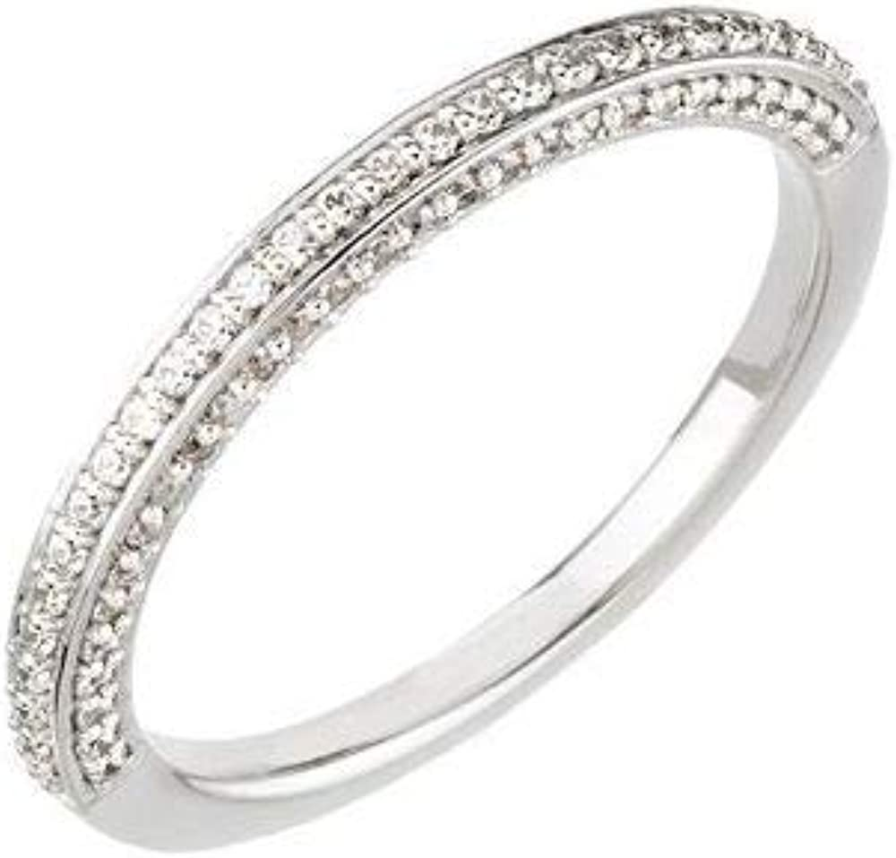 Solid 14k White Gold 1 3 mart Cttw Diamond Ring Financial sales sale Band .33