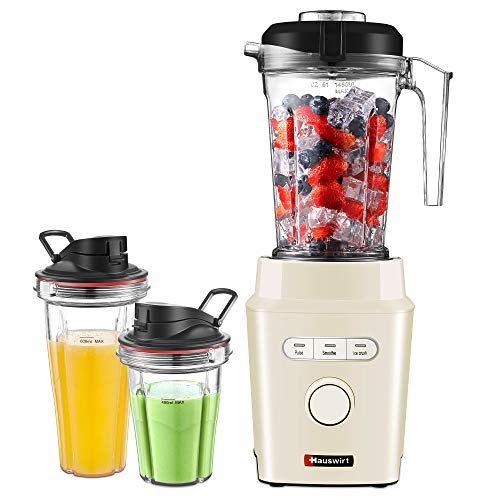 Standmixer, HAUSWIRT Smoothie Maker, 30.000 U/Min, 2x Tritan-Trinkbecher, BPA frei, Tritan Mixer Behälter, 1200W, Spülmaschinenfest, Impuls-/Ice-Crush Funktion, Edelstahlmesser