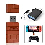 KenSera 8Bitdo Wireless Controller Adapter Gamepad Receiver Mini USB Switch Converter Compatible with Nintendo Switch, Mac, Raspberry Pi, Playstation, PS4, PC Windows, with Black OTG Adapter