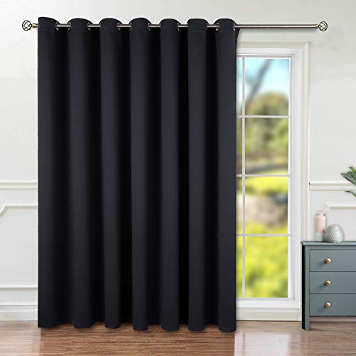BGment Privacy Blackout Curtains for Sliding Glass Door, Grommet Thermal Insulated Darkening Room Divider Curtain for Living Room, 1 Panel (8.3ft Wide x 7ft Tall, Black)