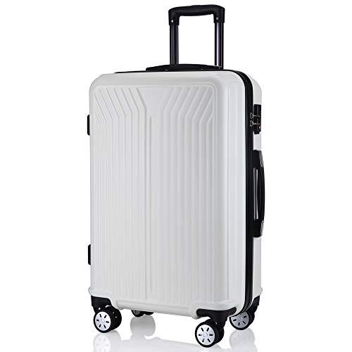 レーズ(Reezu) スーツケース ファスナー式 軽量 キャリーケース ジッパー 耐圧擦り傷防止 キャリーケース 機内持込 キャリーバッグ 人気 大型 TSAロック付 静音 旅行出張 1年保証 White ホワイト Mサイズ 約68L