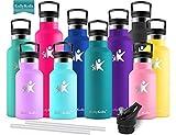 KollyKolla Bottiglia Termica per Acqua in Acciaio Inox, 750ml Senza BPA, Borraccia Sportiva Sottovuoto a Doppia Parete, Borracce Termiche per Bambini, Scuola, Ufficio, Sport, Palestra, Verde Scuro