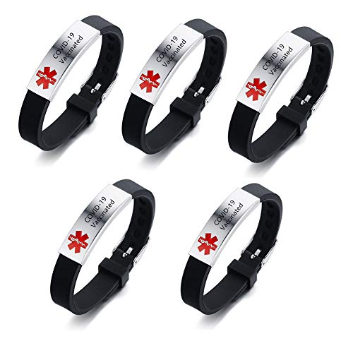 ZKXXJ 5Pcs COVID-19 Vaccinated Medical Bracelet for Men Women Boys Girls, Silicone Wristbands, Bracelets for Vaccination Identification Support for Science Doctor Vaccinated Against Covid 19