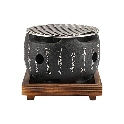 PUXING Japanese Tabletop BBQ Grill, Portable Round Barbecue Stove Food Charcoal Stove with Wire Mesh Grill and Base, for Yakiniku, Robata, Yakitori, Takoyaki and BBQ