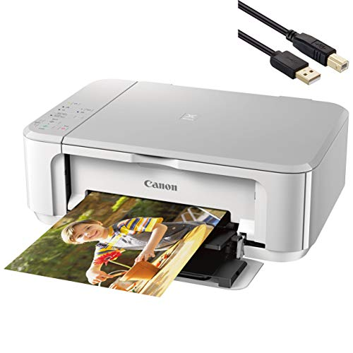 Canon Pixma MG Series Wireless All-in-One Color Inkjet Printer - Print, Scan, and Copy for Home Business Office, 4800 x 1200 dpi, Auto 2-Sided Printing, WiFi - White - BROAGE 4 Feet USB Printer Cable