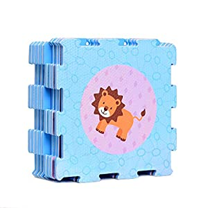 Animals and Shapes Rubber EVA Foam Puzzle Play mat Floor. 9 Interlocking playmat Tiles (Tile:12X12 Inch/9 Sq.feet Coverage). Ideal: Crawling Baby, Infant, Classroom, Toddler, Kids, Gym Workout time