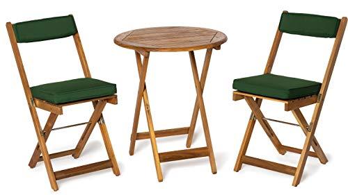 Deliano Balkonset Bistro-Set Kreta aus Akazie inkl. Kissen - klappbar, 2 Stühle 1 Tisch rund