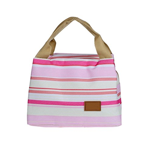 Umily Pique-nique isotherme alimentaire stockage Zipper boîte fourre-tout Bento pochette sac à Lunch-Rose Type A