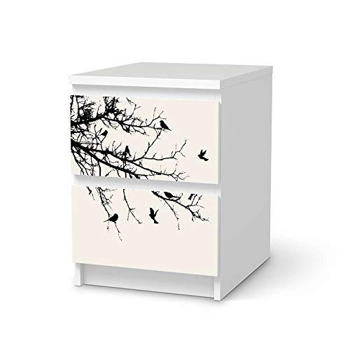 Wandtattoo Möbel passend für IKEA Malm Kommode 2 Schubladen I Möbelaufkleber - Möbel-Tattoo Sticker Aufkleber I Wohnen und Dekorieren für Wohnzimmer und Schlafzimmer - Design: Tree and Birds 1