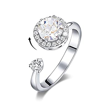 CDE Rings for Mothers Day Jewelry for Moms April Birthstone Ring Rhodium Plated Rotating Rings for Teen Girls Embellished with Crystal from Austria Birthday Mother s Day Jewelry Gifts for Wife Women