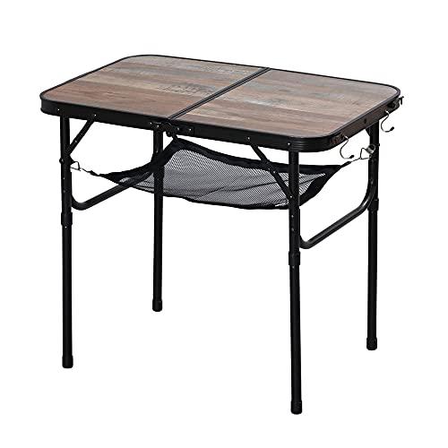アイリスオーヤマ キャンプ用品 テーブル アウトドアテーブル ローテーブル 折り畳み コンパクト収納 高さ調節可 傷つきにくい メッシュ棚 フック付き フォールディングテーブル ブラウン FOT-600