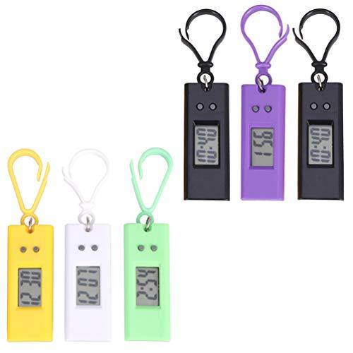 ibasenice 6Pcs Taschenuhr Schlüsselbund Kleine Digitale Uhr Schlüsselring Tragbare Schlüsselbund Uhr für Kinder Kinder Studenten Zufällige Farbe