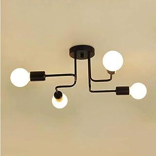 Moderno Negro Lámpara de Techo con 4 Luces E27, Vintage Lámpara de Techo en Metal Iluminación de Techo Industrial para Sala de Estar Dormitorio Cocina, Sin Bombilla