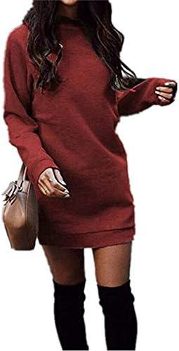 Xuan2Xuan3 Fall Winter Dress for Women Fleece Knit Long Sleeve Crewneck Sweatshirt Pullover product image