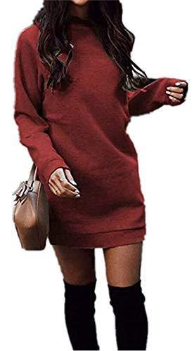 Xuan2Xuan3 Burgundy Dress for Women Fleece Knit Long Sleeve...