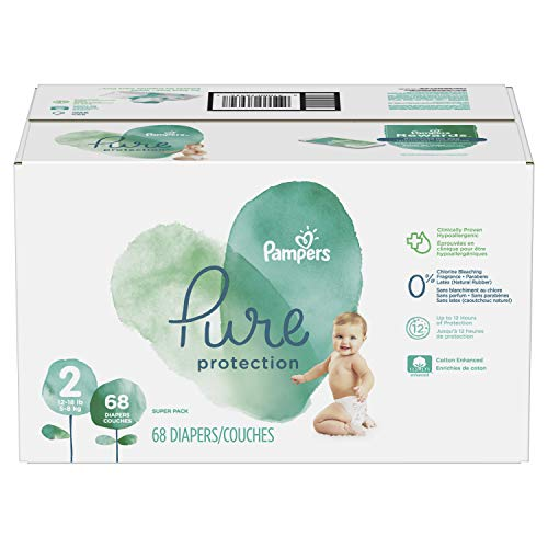 Pampers Pure Protection Diapers Size 2, 68 Count, packaging may vary