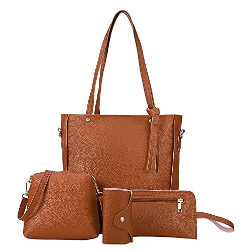 Bandolera para mujer, bolso de hombro, bolso de mensajero, monedero, 4 juegos de bolsos para madres, novias y esposas, marrón, talla única,