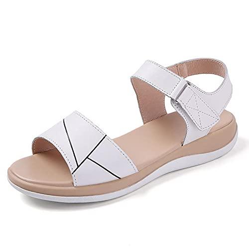 FAYHRH Sandalias Baño Mujer Zapatos de Playa,Sandalias Zapatos Planos de Mujer, Suela Suave, cómodos Zapatos de Mujer con Velcro para Embarazadas-White_36