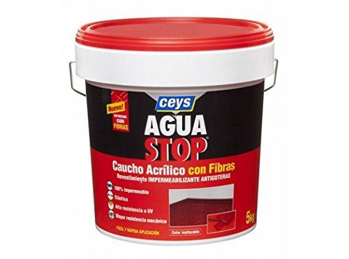 Aguastop ceys M92282-Impermeabilizzante Aquastop gomma acrilica con fibre, 5 kg, colore: bianco