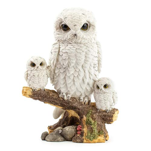 art decor Schnee-Eule mit Kinder, Dekofigur Eule, weiße Eule