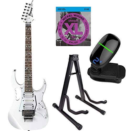 Ibanez JEMJR Steve Vai Signature Series Electric Guitar with Strings, Front Row Tuner & Stand (Pink)