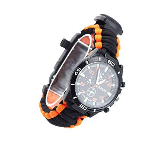 Qinf Multifunktionale Wandern im Freienüberlebens-Uhr-Thermometer-Kompass-Thermometer Kompass Camping-Armband-Pfeife-Rettungs-Seil-Camping-Armband
