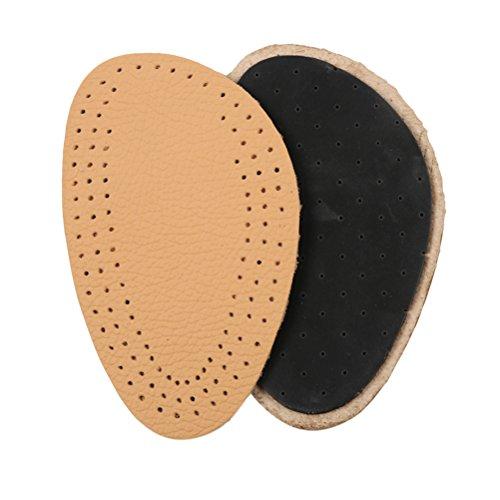 Supvox Leder halb Vorfuß Einlegesohle atmungsaktiv bequeme Dämpfung halb Einlegesohlen für Frauen High Heels Größe L (Gelb)