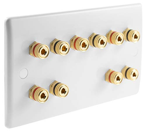 5.0 White Slimline Audio/AV Surround Sound Speaker Wall Plate with Gold Binding Posts NO SOLDERING REQUIRED