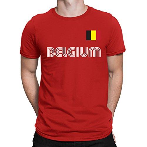 SpiritForged Apparel Belgium Soccer Jersey Men's T-Shirt, Red Large