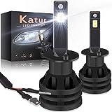 KATUR 9012 HIR2 Ampoules de Phare à LEDs Mini Conception améliorée Puces CREE 12000 lumens Kit de Conversion de phares étanche Tout-en-Un à LED 55W 6500K Blanc xénon-2 Ans de Garantie