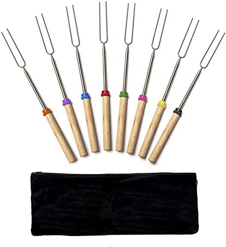 EVAE Juego de 8 tenedores telescópicos para barbacoa, tenedores para tostar, tenedores de malvavisco, tenedor curvo extensible de metal para fogones, fiesta de barbacoa