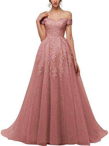 Vickyben Damen Prinzessin A-Linie Ab Schulter Spitzen Tuell Abendkleider Ballkleid Brautkleid lang (32, alt rosa)