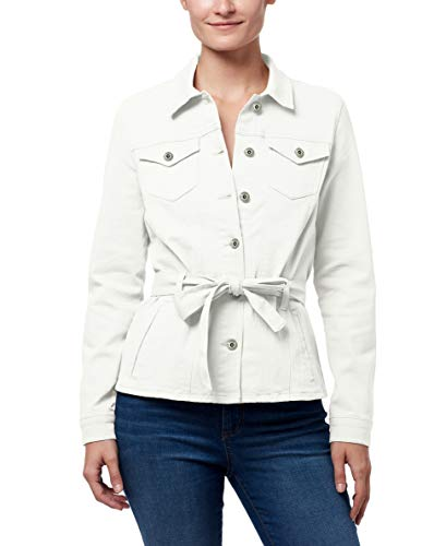 CHAPS Jeans Women's Stylish Belted Denim Jean Jacket, White, Small