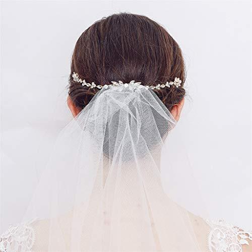 Gaddrt Peine de mano para novia con perlas de cristal para el pelo, para vestido de novia, tocado