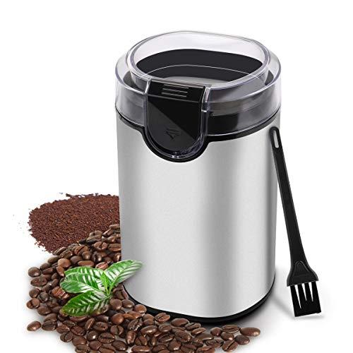 Macina caffè, Macinacaffè Elettrico con Lame in Acciaio Inossidabile Resistente per Macina Chichi di caffè | spezie | pepe | frutta a guscio, capacità di 70g, Senza BPA, con Spazzola di Pulizia