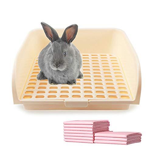 Pet Small Rat Large Toilet, Square Oversize Potty Trainer Corner Litter Bedding Box Pet Pan for Small Animal/Large Rabbit/Guinea Pig/Galesaur/Ferret (Beige)
