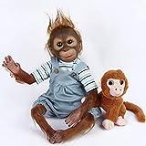ZIYIUI Singe Poupée Reborn Garçon 21 Pouces 52 cm Vraiment Réaliste Chimpanzé Reborn Bébés À La Main en Silicone Souple Vinyle Réaliste À La Recherche Mignon Bébé Poupées Toddler Filles Jouets