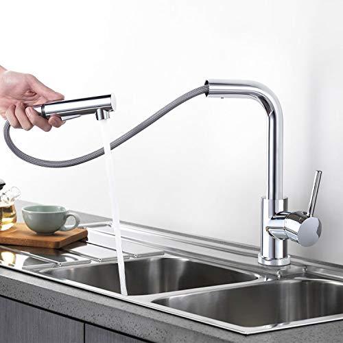 Küchenarmatur Ausziehbar, Wasserhahn Küche G1/2 mit 2 Strahlarten, Einhebelmischer Küche 360° Schwenkbar, VENTCY Spülamaturen Küche Chrom für Küche/Bad
