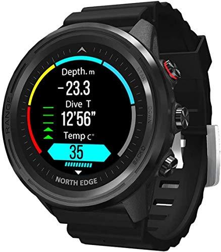 JSL 2021 - Reloj de buceo inteligente para exteriores, 50 m, con brújula, altímetro, barómetro, GPS, función de monitoreo de frecuencia cardíaca