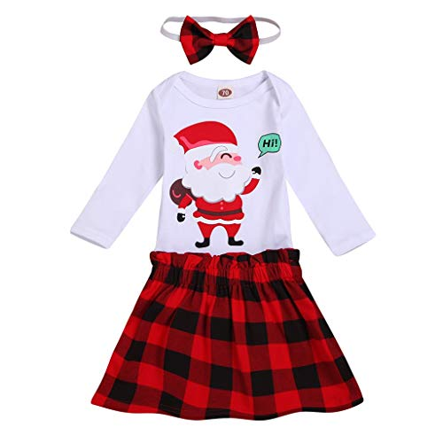Outfits Clothes for 3-6 Months Boy and Girl, Christmas Toddler Baby Cartoon Santa Printed Romper+Plaid Skirt+Headbands Set, Girls Outfits&Set (White 3-6 Months)