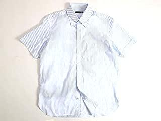 [マッキントッシュロンドン] クールマックス オックスフォード ピンストライプ ボタンダウン シャツ 半袖 白×青 00303a09
