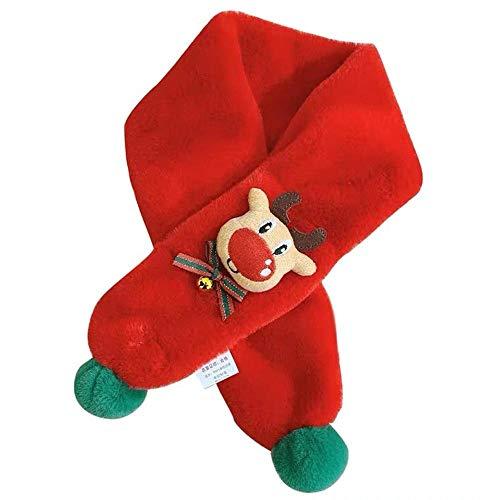 SUMHOM Cuello de Cervatillo de Navidad de Invierno, Cuello de Felpa para niños y niñas-Rojo