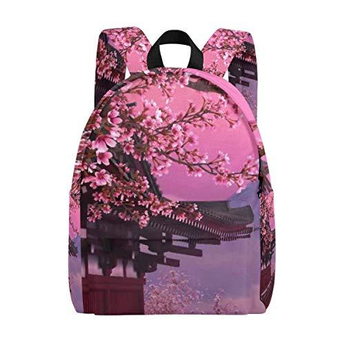 Schöner Rucksack mit Pavillon und Pflaumenblüten, für die Schule, bedruckter Tagesrucksack, modische Schultertasche für Herren, Damen, Jungen, Mädchen