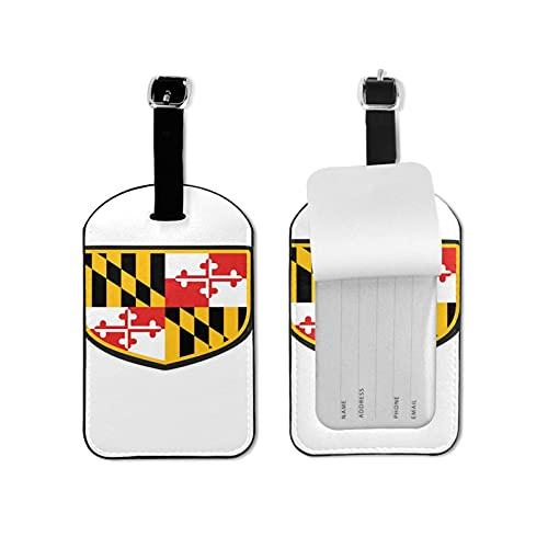 Etiquetas para equipaje de viaje con la bandera del estado de Maryland