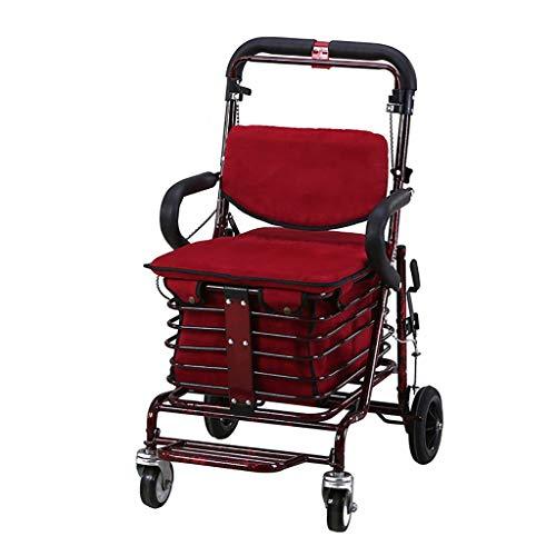 GWXTC Faltbarer Bollerwagen Alter Mann, der tragbaren Einkaufswagen faltet, Lebensmitteleinkauf/Walker/Rest Seat Stangenbremse 4 Räder Multifunktionswagen, Belastung: 100 kg (Color : A)