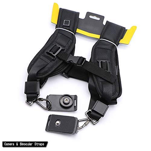 Doppia tracolla cinghia per reflex DSLR con 2tracolla per Nikon Sony DSLR (nero)
